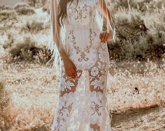 Vintage Sleeveless Fringe Lace WEDDING Maxi Dress Gown With Mini Train Bohemian Boho Saldana  Elopement Natalie Dress