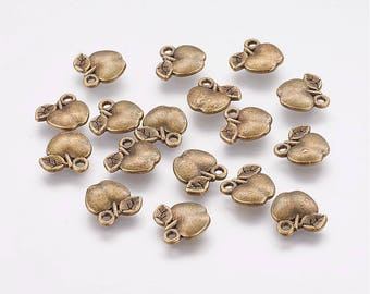 10 Antique Bronze Baby Apple Charms 11 x 11mm (B103h)