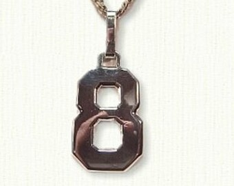 Custom Jersey Number Pendant - Single -Available In All Metals - Awesome Customized Gift Idea