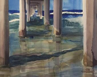Beach // La Jolla Shores // The Pier // Scripps Pier // Watercolor Art Print