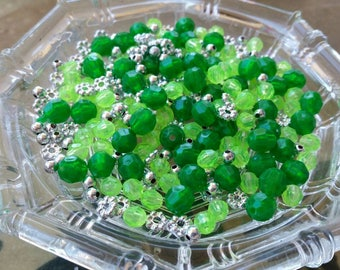 500 Small Green and Silver Plastic Beads - 8mm, 6mm, assorted - Faceted beads and spacer beads mix