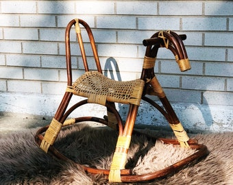 Vintage bentwood and wicker rocking horse in style of Franco Albini