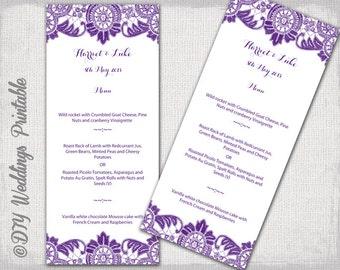 "Menu template - Violet purple DIY wedding menu -""Antique Lace"" digital printable menu in Eggplant YOU EDIT template - instant download"