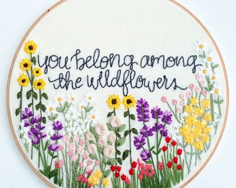 Wildflowers Hand Embroidery Pattern: Beginner Pattern, Flower Embroidery Hoop Pattern, Hoop Art