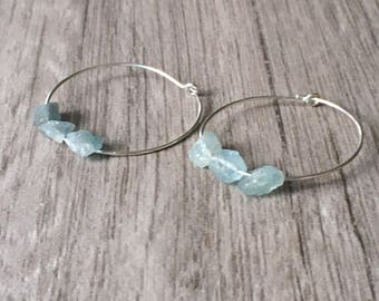 Raw Aquamarine Earrings - Raw Crystal Earrings - Silver Hoop Earrings - Rough Aquamarine Earrings - Natural Aquamarine Earrings