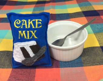 Cake Mix Package Baking Felt Play Food