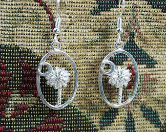 Sterling Silver (925) South Carolina State flag earrings, palmetto and moon, palm and moon, Charleston Gates