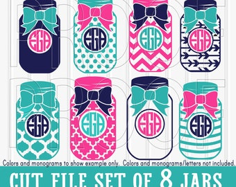 Monogram SVG Files Set-8 cut files includes svg/png/jpg formats!  mason jar svg bow svg silhouette {colors/letters for display only}