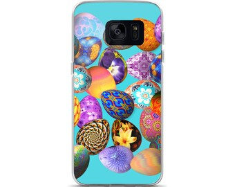 All Over Easter Eggs on Blue Cell Phone Case Samsung Galaxy S7, S8, S8+, S7 Edge