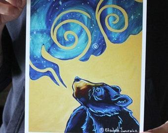 Black Bear Breathing the Universe; Fine Art Print