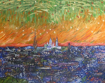 Paris and SACRE COEUR with stars, Canvas Art, Modern Fine Art with frame.
