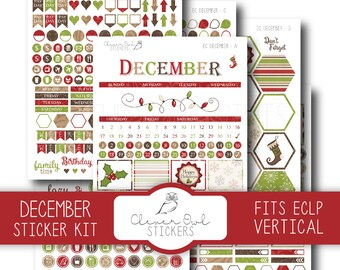December Planner Stickers, Sticker Kit, Planner Stickers, EC Vertical Planner Stickers, Monthly Sticker Set