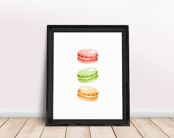 Food Art | Macarons, Ice Cream Art, Macarons Wall Art, Dessert Art, Watercolor Food, Immediate Download, Printable Poster, Sweet Treat Art