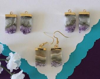 Amethyst Slice Earrings, Crystal Slice Earrings, Amethyst Sliced Gold Earrings, Gold Earrings, AE21