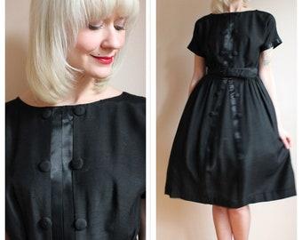 1960s Dress // Dark Silk Day Dress // vintage 60s dress