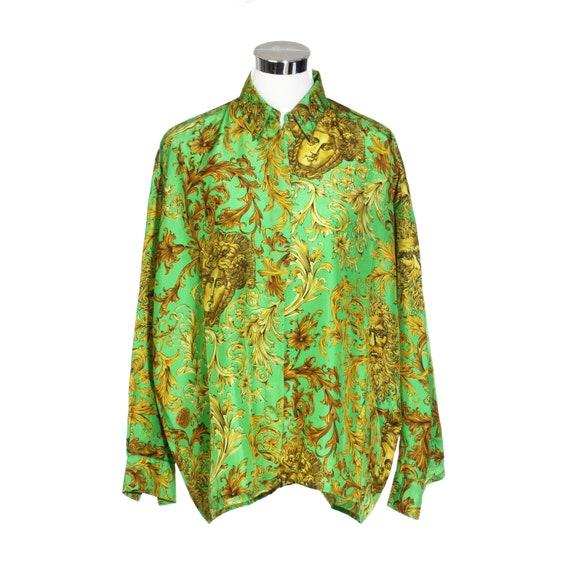 90s Gianni Versace Jeans Couture pure silk shirt golden afa91da6cc6