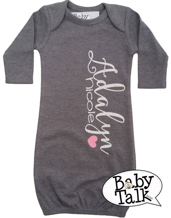 Baby Layette Gown personalized custom glitter name Birth