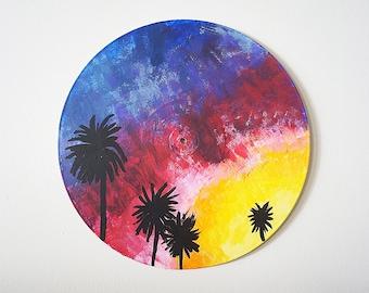 California Palms Vinyl Record Painting, Record Art, Art on Vinyl Record, Beach Decor, Sunset Painting, Beach Dorm Decor, Housewarming Gift