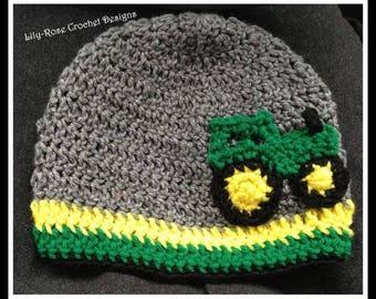 Crochet tractor hat