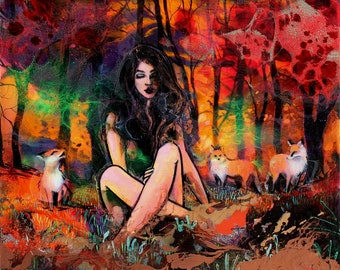 Figure and foxes Painting - Female Figure - Contemporary Mixed Media Art - by Aja Vulpine 20x24 inches on cradled wooden panel