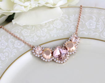 Rose gold necklace, Bridal necklace, Blush crystal necklace, Bridal jewelry, Wedding necklace, Bridesmaid necklace, Statement necklace