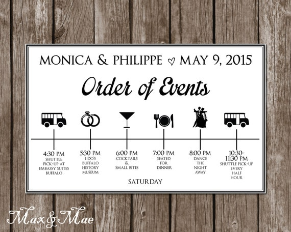 Wedding Order Of The Day: Wedding Itinerary Timeline Big Day Timeline Order Of Events