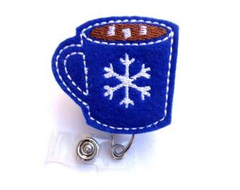 Christmas Retractable badge holder - Mmmm Hot Chocolate - hot cocoa - royal blue felt - medical staff nurse teacher badge reel