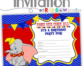 799: DIY - Dumbo Invite and Thank You Card - Instant Downloadable File