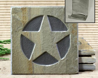 Etched Natural Stone Coaster Set with Holder - Texas Star on Buff Slate