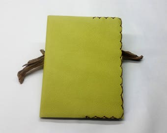 Lime Leather Composition Book Cover, Lime Leather Notebook, Refillable Leather Lime Notebook, Composition Book Covers