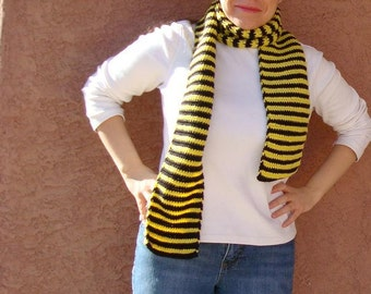 Yellow and Black Striped Scarf, Bee Scarf, Black, Yellow Stripe Scarf - Scarves - Long Scarf for Men or Women MADE TO ORDER