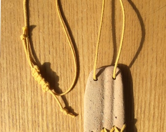 Unique 2 Part Stitched Sea Brick Pottery Pendant Necklace