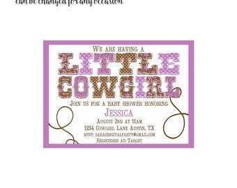 Little Cowgirl Purple Baby Shower Invitation 4x6 or 5x7 digital you print your own- Design 132