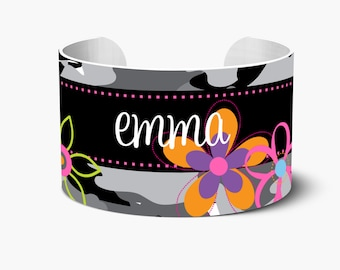 Personalized Cuff Bracelet, Personalized Cuff Bracelets, Monogrammed Cuff Bracelet, Custom Personalized Create Your Own, Charming Camo