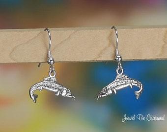 Sterling Silver Trout or Salmon Earrings Fishhook Earwires Solid .925