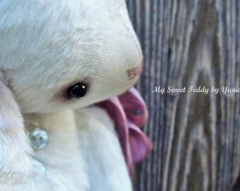Collectible Bunny Blanche, artist teddy bunny, teddy bear, teddy toys, interior doll