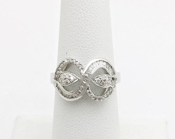 18K White Gold Baguette Diamond Infinity Ring - Infinity Twist Diamond Ring - Size 6.75 Resizable by Luxinelle 399 Specials