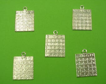 SET 5 METALS CHARMS Silver: Bingo 15 mm
