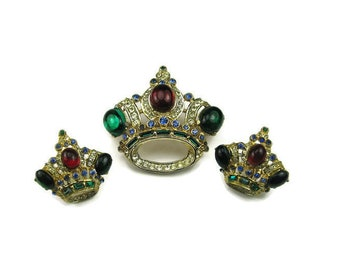 Coro Rhinestone Crown Demi Parure