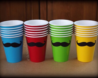 24 Mustache Paper Party Cups-Mustache Cups-Little Man Party-Mustache party-baby shower-Party cups-The Handlebar-Variety of colors cups