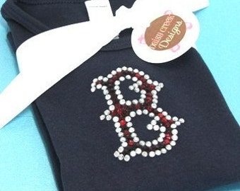 RED SOX short sleeve RHINESTUD tee by Daisy Creek Designs