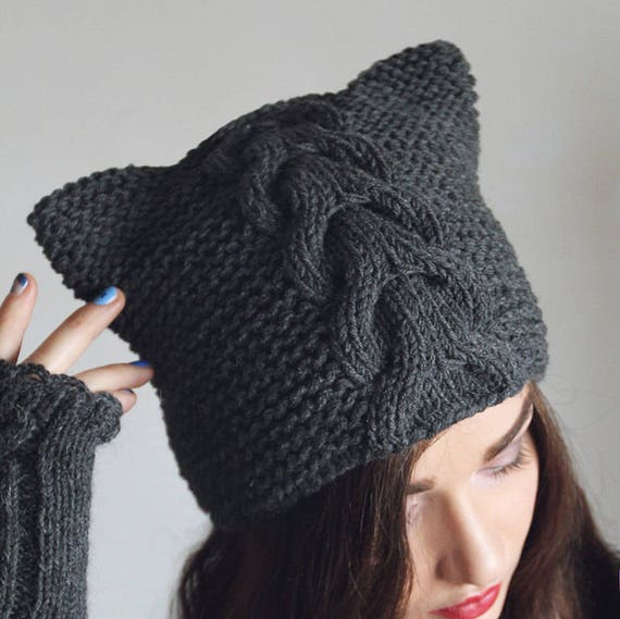 Pattern knitted hat cat ears cap gray Hand knit Animal Ear