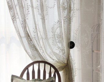Stunning Shabby Chic Fairy Tale White Sheer Curtain, Lace Curtain, Rod Pocket/Pinch Pleated Drapery, Drape