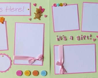 12x12 Premade Scrapbook Pages -- SHE'S HERE!-- BaBy GiRL layout - Newborn photos, shower, coming home, baby scrapbooking, 1st year, birth