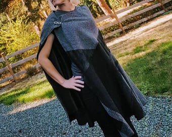 Mistborn black cape, Elven clothing, medieval cloak, gothic fantasy cape, witches cloak, mythical cloak, cosplay cloak, gypsy riding cape