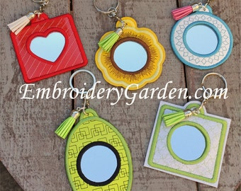 In the Hoop Mirrored Key Ring Machine Embroidery Design Files Instant Download