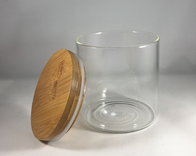 Featured listing image: Glass Jar with Bamboo top, jar with lid,  candle jars, storage jars, storage container,candle containers