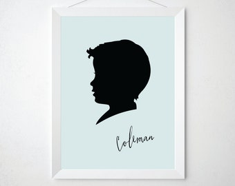 Nursery Silhouette Art Personalized with Name - Kids Room Wall Decor