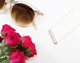 Gold Bar Marble Necklace Jewelry - Gold Bar Necklace Marble Inset 14k Gold Filled