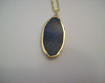Blue Agate Pendant Necklace with Faux Gold Wrap 28 Inch Nichol Free textured gold color chain